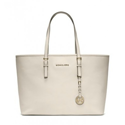 Michael Kors Jet Set Multifunction Saffiano Tote White